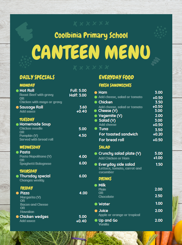 Coolbinia School Canteen Menu